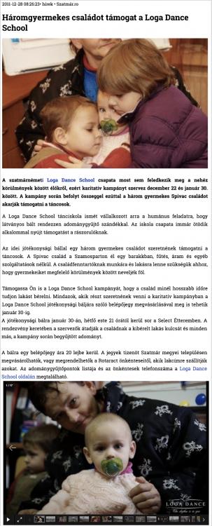 Haromgyermekes csaladot tamogat a Loga Dance School (szatmar.ro)