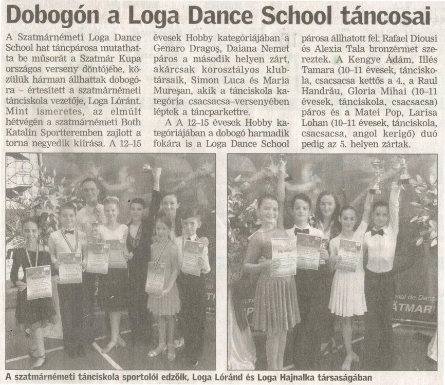 Dobogon a Loga Dance School tancosai(Friss Ujsag)