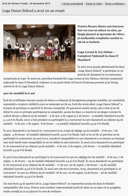 Loga Dance School a avut un an reusit (informatia-zilei.ro)