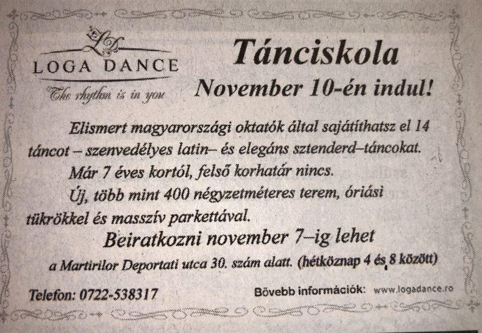 Tanciskola – November 10-en indul! (Szatmari Friss Ujsag)