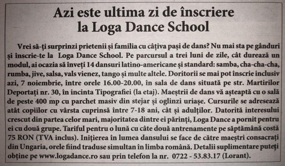 Azi este ultima zi de inscriere la Loga Dance School (Informatia Zilei)
