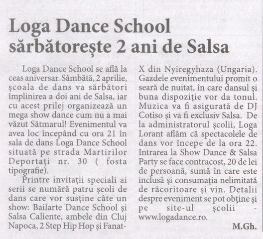 Loga Dance School sarbatoreste 2 ani de Salsa (Informatia Zilei)