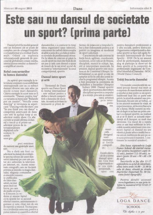 Este sau nu dansul de societate un sport? (Informatia Zilei)