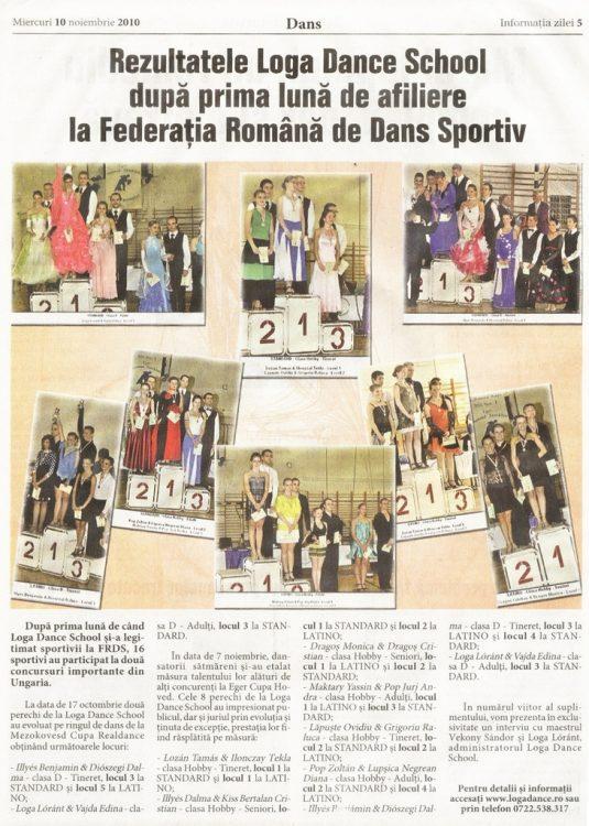 Rezultatele Loga Dance School dupa prima luna de afiliere la Federatia Romana de Dans Sportiv (Informatia Zilei)