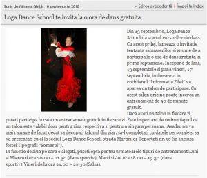 Loga Dance School te invita la o ora de dans gratuita (informatia-zilei.ro)