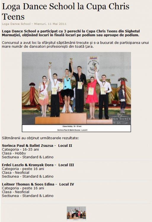 Loga Dance School la Cupa Chris Teens (satumareonline.ro)