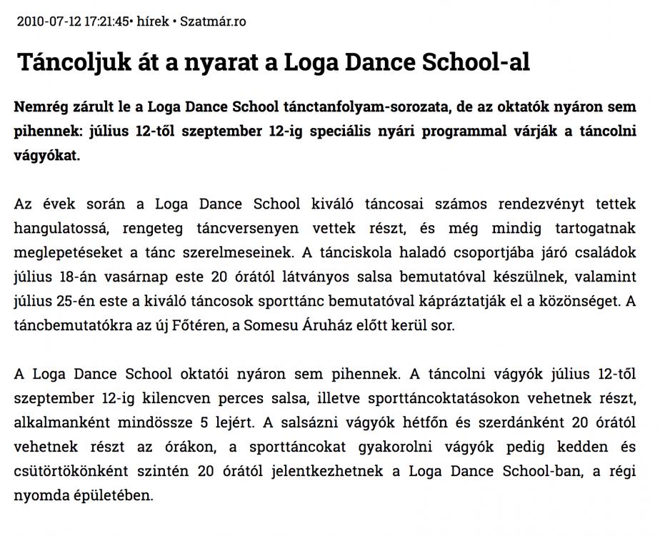 Tancoljuk at a nyarat a Loga Dance School-al (szatmar.ro)