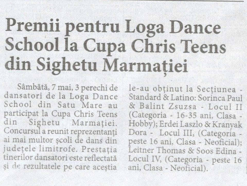 Premii pentru Loga Dance School la Cupa Chris Teens din Sighetu Marmatiei (Informatia Zilei)