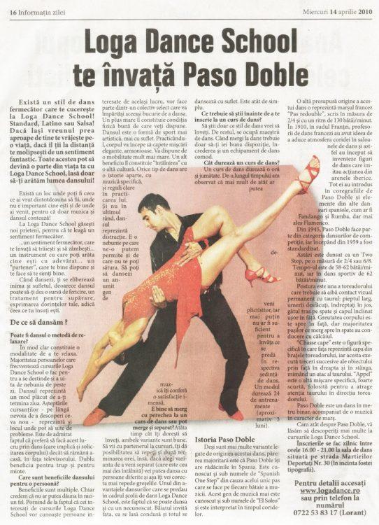 Invata Paso Doble la Loga Dance School (Informatia Zilei)