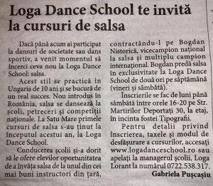 Loga Dance School te invita la cursuri de salsa (Informatia Zilei)