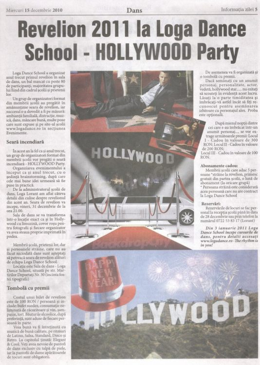 Revelion 2011 la Loga Dance School – Hollywood Party (Informatia Zilei)