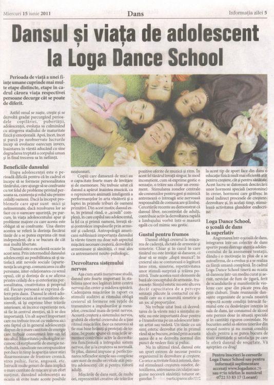 Dansul si viata de adolescent, articol publicat de Loga Dance School (Informatia Zilei)