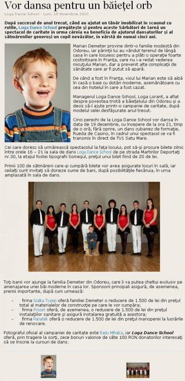 Campanie caritabila Loga Dance School pentru Marian (satumareonline.ro)