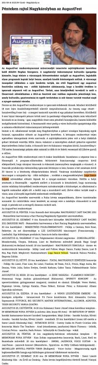 Penteken rajtol Nagykarolyban az AugustFest (szatmar.ro)