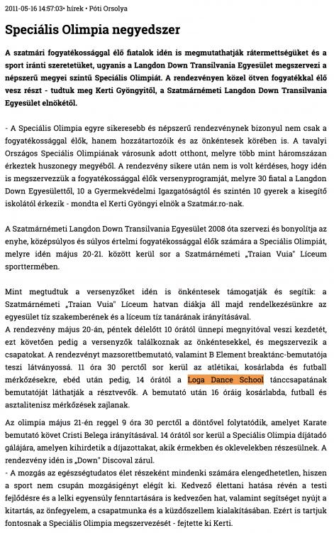 Specialis Olimpia negyedszer (szatmar.ro)