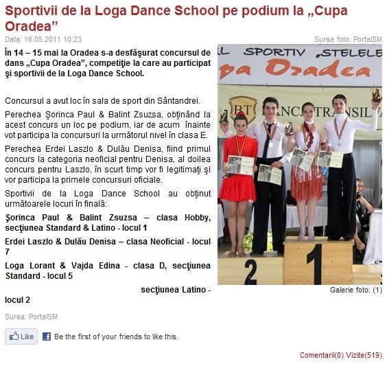 "Sportivii de la Loga Dance School pe podium la ""Cupa Oradea"" (portalsm.ro)"