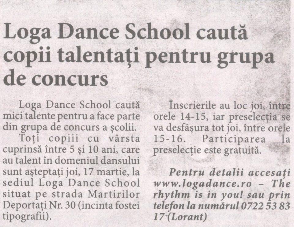 Loga Dance School cauta copii talentati pentru grupa de concurs (Informatia Zilei)