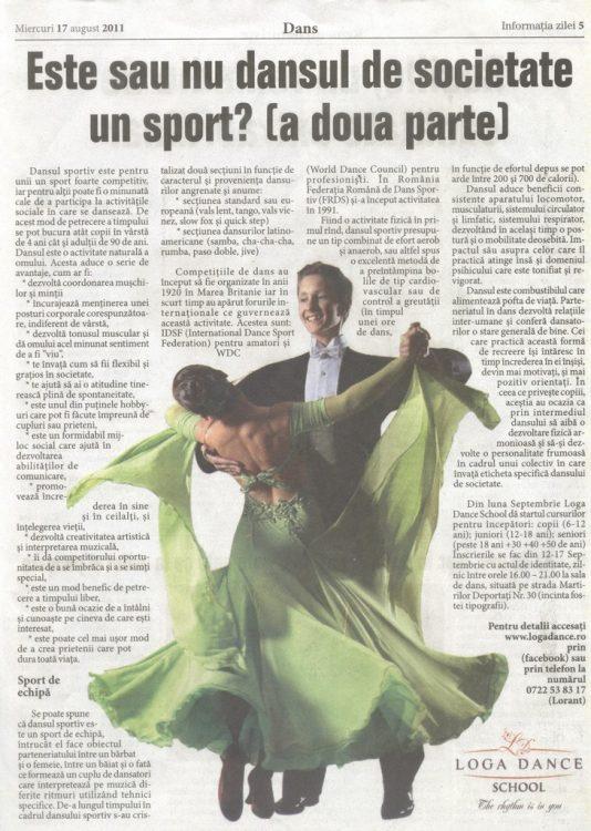 Dansul sportiv este pentru unii un sport foarte competitiv (Informatia Zilei)