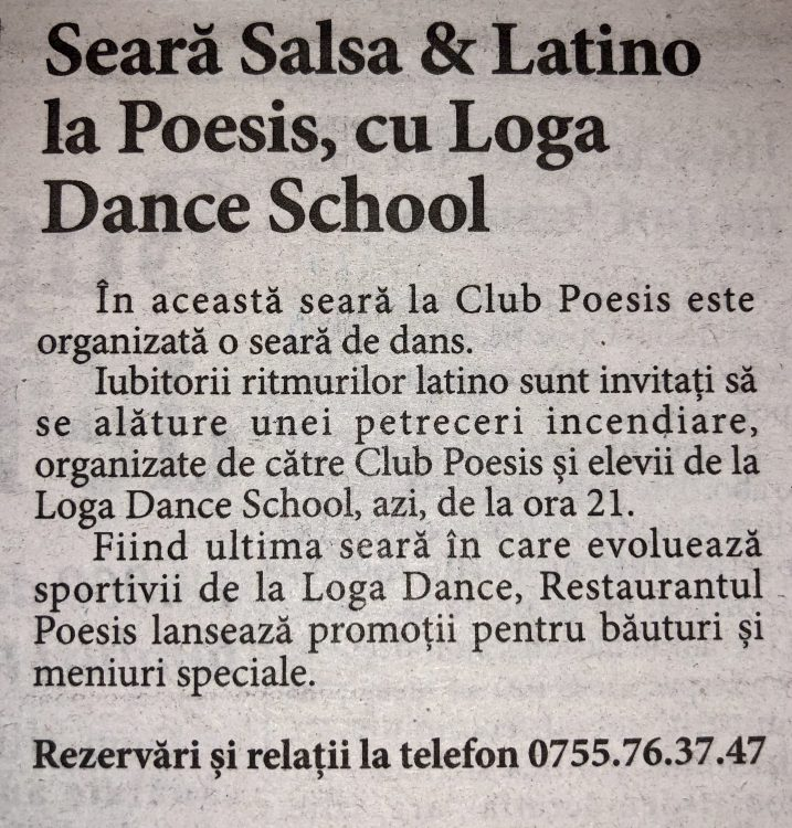 Seara de Salsa & Latino la Poesis, cu Loga Dance School (Informatia Zilei)