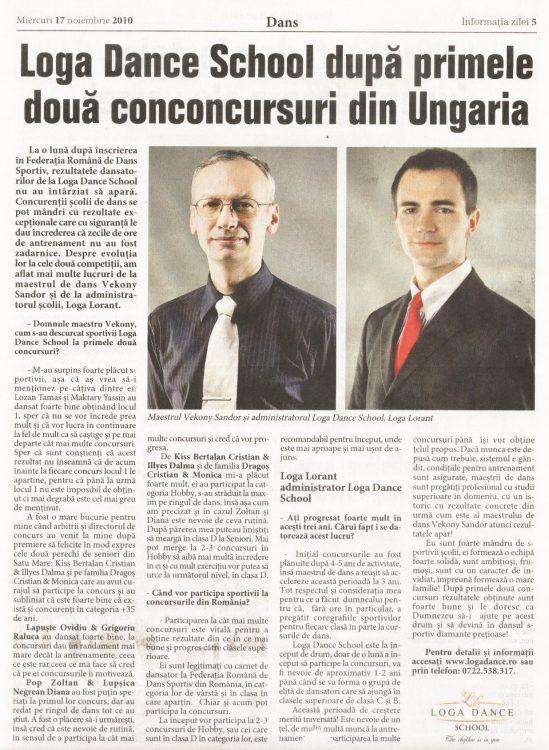 Loga Dance School, dupa primele doua concursuri din Ungaria (Informatia Zilei)