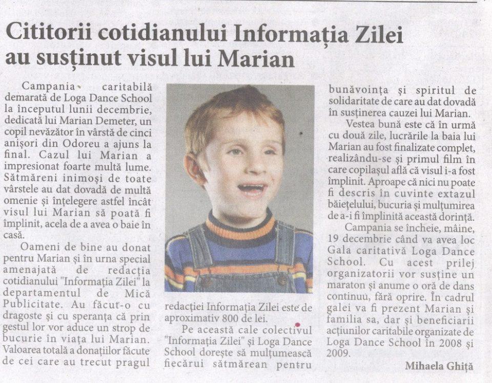 Cititorii cotidianului Informatia Zilei au sustinut visul lui Marian (Informatia Zilei)