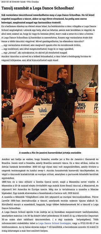 Tanulj szambat a Loga Dance Schoolban! (szatmar.ro)