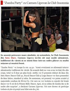 """Zumba Party"" cu Carmen Lipovan la Club Insomnia (satmareanul.net)"