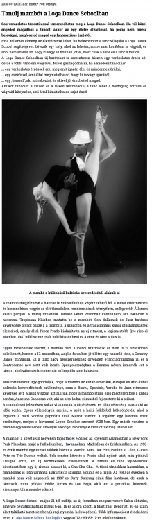 Tanulj Mambot a Loga Dance Schoolban (szatmar.ro)