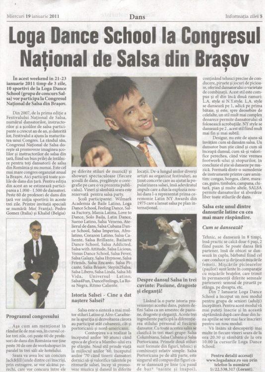 Loga Dance School la Congresul National de Salsa din Brasov (Informatia Zilei)