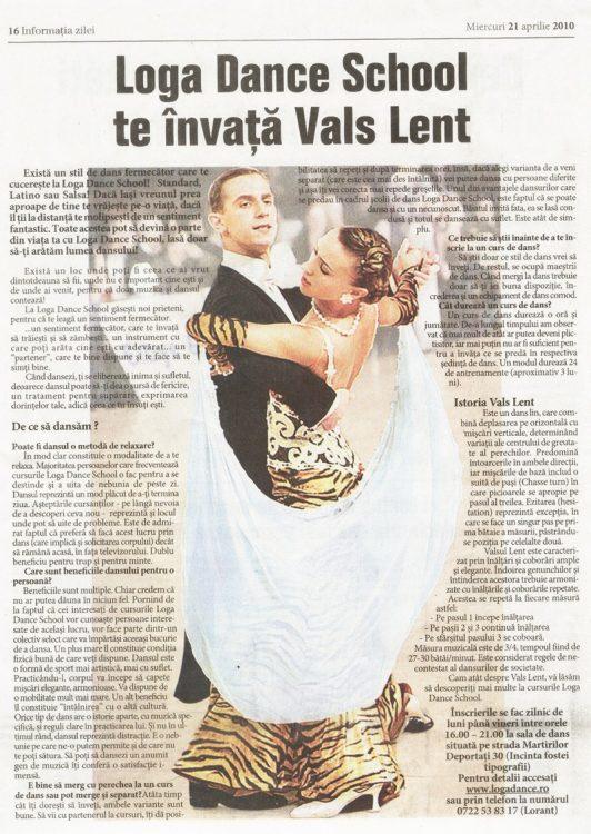 Loga Dance School te învață Vals Lent (Informatia Zilei)