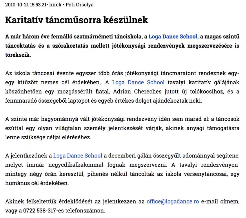 Karitativ tancmusorra keszulnek (szatmar.ro)