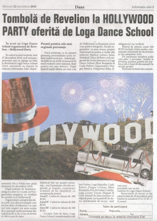 Tombola de Revelion la Hollywood Party, oferita de Loga Dance School (Informatia Zilei)