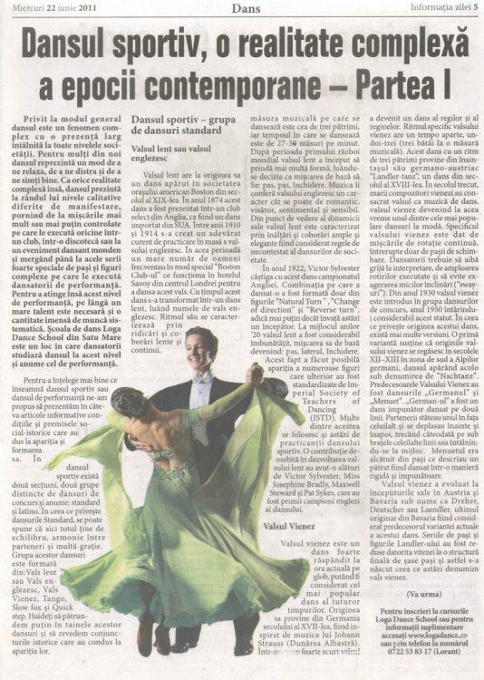 Dansul sportiv, o realitate complexa a epocii contemporane – Partea I (Informatia Zilei)