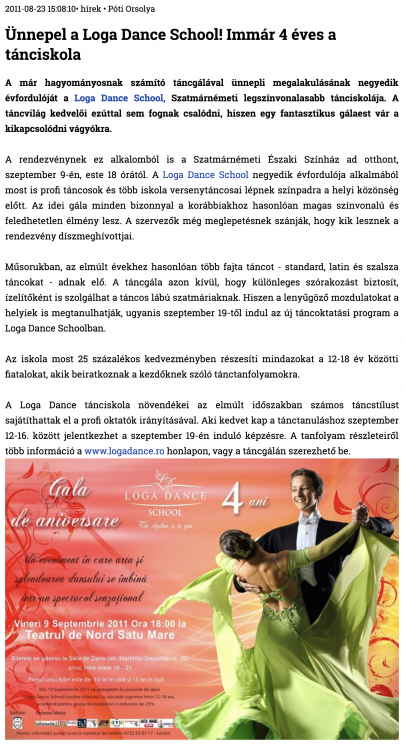 Unnepel a Loga Dance School! Immar 4 eves a tanciskola (szatmar.ro)