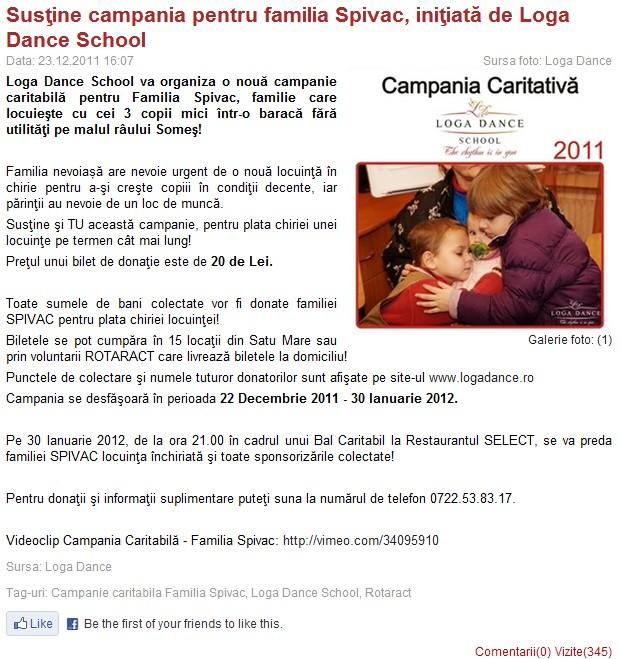 Sustine campania pentru familia Spivac, initiata de Loga Dance School (portalsm.ro)
