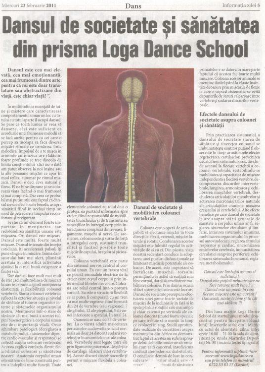 Dansul de societate si sanatatea din prisma Loga Dance School (Informatia Zilei)