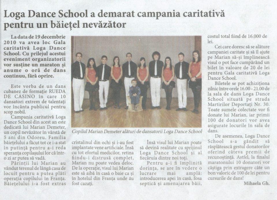 Loga Dance School a demarat campania caritabila pentru un baietel nevazator (Informatia Zilei)