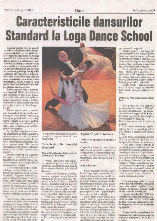 Caracteristicile dansurilor Standard la Loga Dance School (Informatia Zilei)