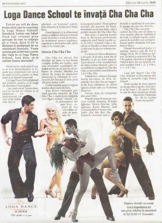 Invata Cha Cha Cha la Loga Dance School (Informatia Zilei)