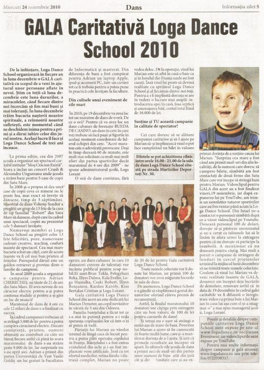 Gala Caritabila Loga Dance School 2010 (Informatia Zilei)