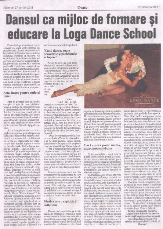 Dansul ca arta-mijloc de formare si educare (Informatia Zilei)