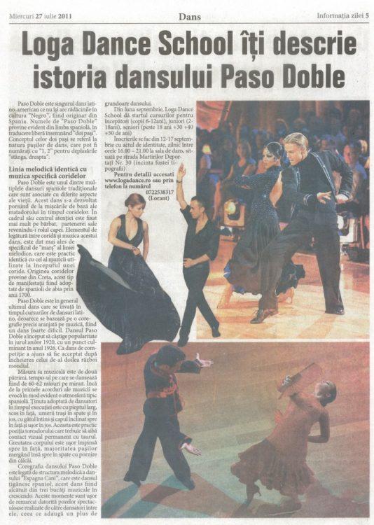 Loga Dance School iti descrie istoria dansului Paso Doble (Informatia Zilei)