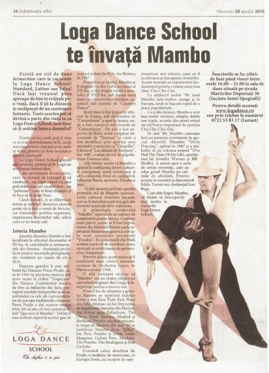 Loga Dance School te invata Mambo (Informatia Zilei)