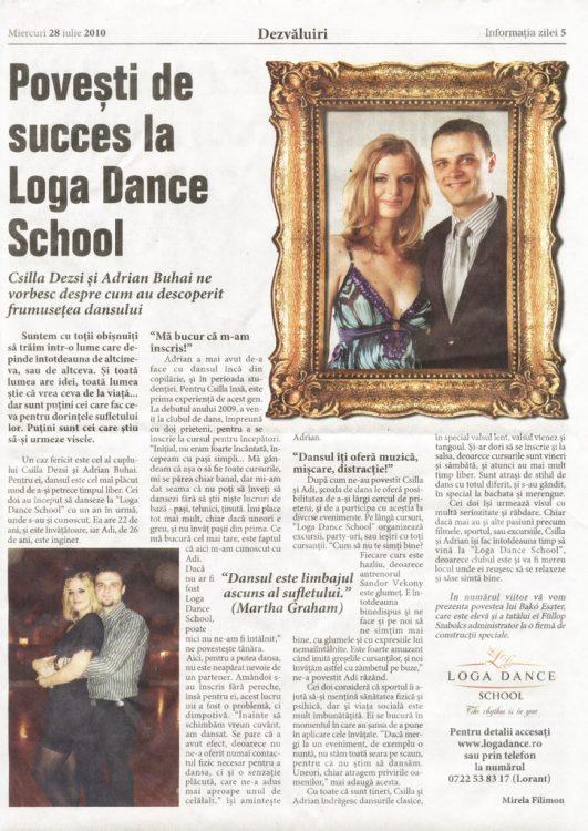 Povesti de succes la Loga Dance School - Csilla Dezsi si Adrian Buhai (Informatia Zilei)
