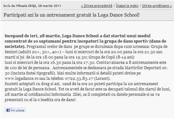 Participati azi la un antrenament gratuit la Loga Dance School! (informatia-zilei.ro)