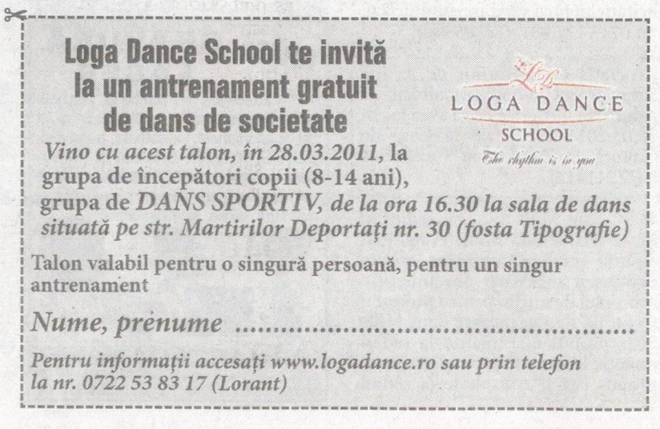 Loga Dance School te invita la un antrenament gratuit de dans de societate (Informatia Zilei)