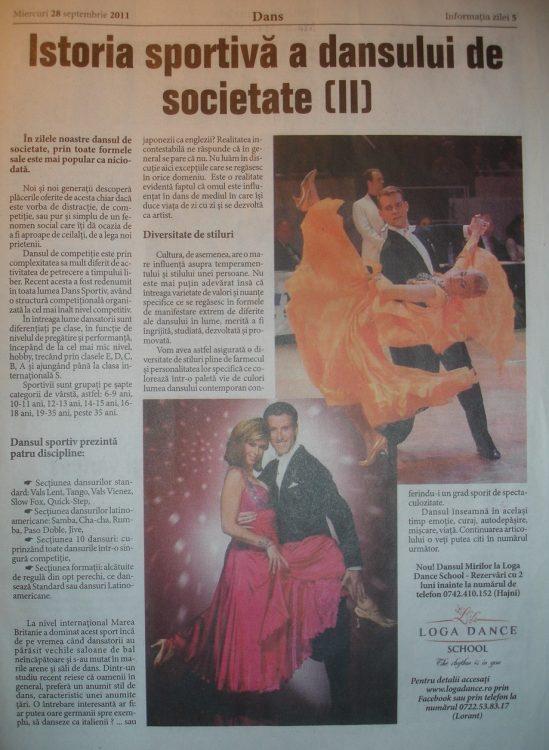 Istoria sportiva a dansului de societate (II) articol publicat de Loga Dance School (Informatia Zilei)