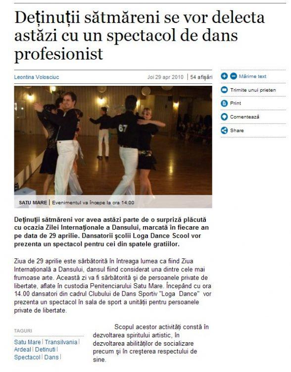 Detinutii satmareni se vor delecta astazi cu un spectacol de dans profesionist (adevarul.ro)