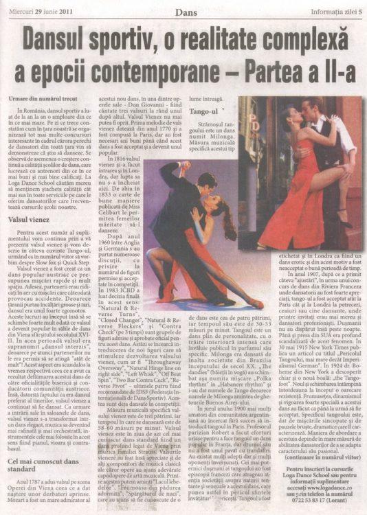 Dansul sportiv, o realitate complexa a epocii contemporane – Partea a II-a (Informatia Zilei)