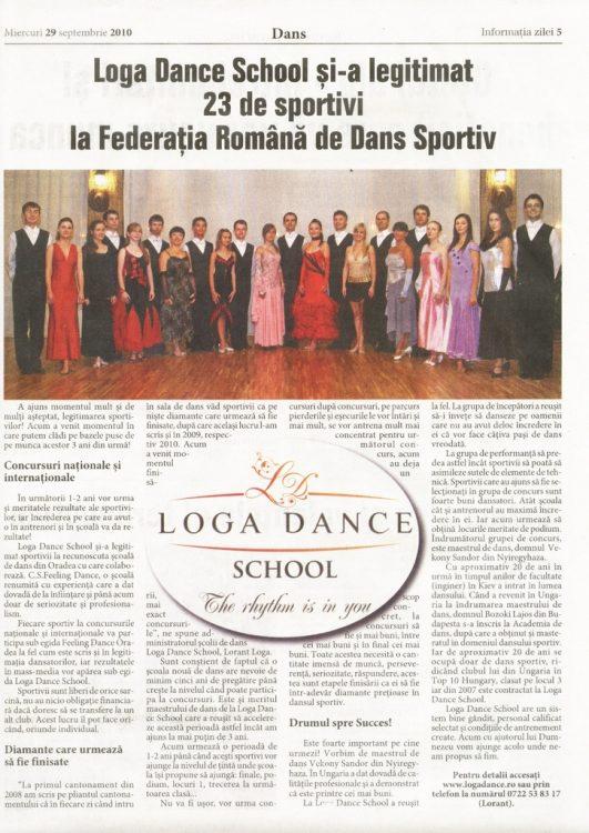 Loga Dance School si-a legitimat 23 de sportivi la Federatia Romana de Dans Sportiv (Informatia Zilei)